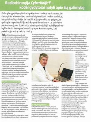 ``Radioķirurģija ar CyberKnife - kāpēc ārsti šo iespēju noklusē``